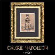 Costume Breton - Mode Française - Bretagne - Plougoulm - Saint-Pol-de-Léon (Finistère - France) | Lithographie originale dessinée par Lalaisse, lithographiée par Lalaisse. 1843