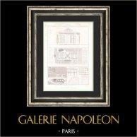 Desenho de Arquitecto- Paris - Projets de Halles Centrales (MM Pigeory, Storez, Roze)