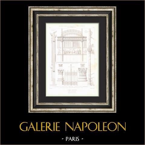 Dibujo de Arquitecto - Cirque d'hiver - Cirque Napoléon (Paris) - Alambrada de Hierro fundido | Grabado original en talla dulce sobre acero dibujado por Hittorff, grabado por Bury & Sulpis. 1854
