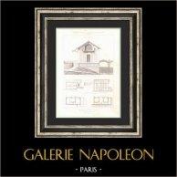 Dibujo de Arquitecto - Casa del Jardinero - Marly-le-Roi - Yvelines (M. Nicolle Architecte) - Elevación