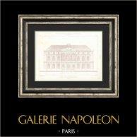 Dessin d'Architecte - Hotel de Ville (3ème Arrondissement de Paris) - Façade | Gravure originale en taille-douce sur acier dessinée par Girard, gravée par Penel. 1854
