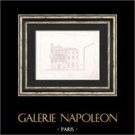 Dessin d'Architecte - Hotel de Ville (3ème Arrondissement de Paris) - Coupe transversale | Gravure originale en taille-douce sur acier dessinée par Girard, gravée par Penel. 1854
