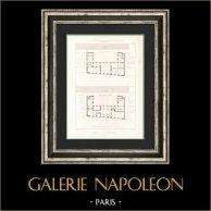 Dessin d'Architecte - Hotel de Ville (3ème Arrondissement de Paris) - Plan du Premier étage | Gravure originale en taille-douce sur acier dessinée par Girard, gravée par Penel. 1854