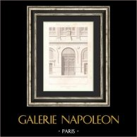 Dessin d'Architecte - Hotel de Ville (3ème Arrondissement de Paris) - Portail | Gravure originale en taille-douce sur acier dessinée par Girard, gravée par Penel. 1854