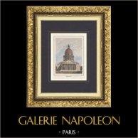 Veduta di Parigi - Il Pantheon di Parigi  - Frontone (Francia) | Stampa calcografica originale a bulino su acciaio disegnata da Rauch, incisa da Nyon jeune. Acquerellata a mano. 1838