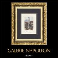 Vue de Paris - Fontaine du Palmier - Place du Châtelet (France) | Gravure originale en taille-douce sur acier dessinée par Rauch, gravée par Nyon jeune. Aquarellée à la main. 1838