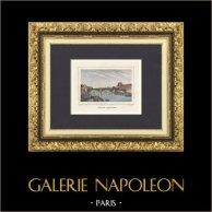 Veduta di Parigi - Ponti di Parigi - Louvre - Senna - Ponte - Pont du Carrousel (Francia) | Stampa calcografica originale a bulino su acciaio disegnata da Rauch, incisa da Ransonnette. Acquerellata a mano. 1838