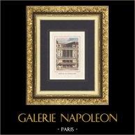 Vista de  Paris - Théâtre des Nouveautés - Espectáculo (Francia) | Grabado original en talla dulce sobre acero dibujado por Rauch, grabado por Devilliers jeune. Agua-coloreado a mano. 1838