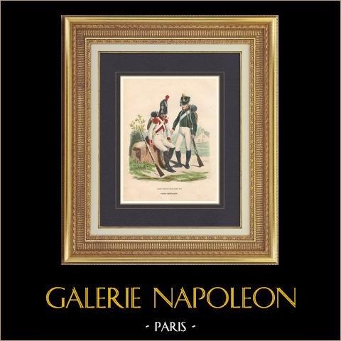 Soldat Napoléonien - Uniforme - Garde Impériale - Grenadier Hollandais - Pupille   Gravure originale en taille-douce sur acier dessinée par Hippolyte Bellangé, gravée par Lacoste. Aquarellée à la main. 1844
