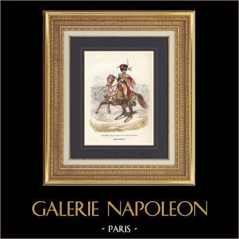 Soldat Napoléonien - Uniforme - Garde Impériale - Eugène de Beauharnais - Chasseur à cheval   Gravure originale en taille-douce sur acier dessinée par Demoraine, gravée par Lacoste ainé. Aquarellée à la main. 1844