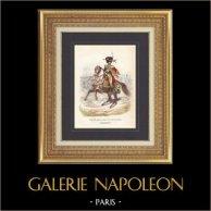 Soldat Napoléonien - Uniforme - Garde Impériale - Eugène de Beauharnais - Chasseur à cheval | Gravure originale en taille-douce sur acier dessinée par Demoraine, gravée par Lacoste ainé. Aquarellée à la main. 1844