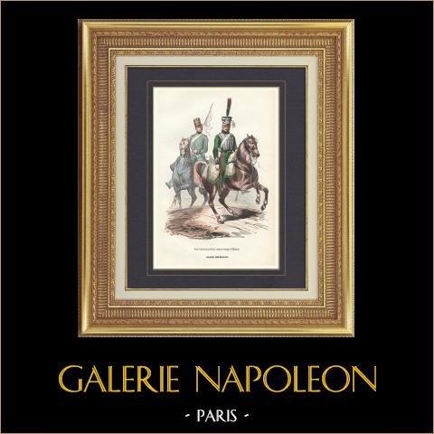Soldat Napoléonien - Uniforme - Garde Impériale - Garde d'honneur - Eclaireur   Gravure originale en taille-douce sur acier dessinée par Eugene Lami, gravée par Lacoste ainé. Aquarellée à la main. 1844
