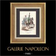 Soldado Napoleónico - Uniforme - Guardia Imperial - Guardia de honor  | Grabado original en talla dulce sobre acero dibujado por Eugene Lami, grabado por Lacoste ainé. Agua-coloreado a mano. 1844