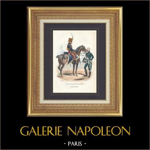 Soldat Napoléonien - Uniforme - Garde Impériale - Aide de camp - Gendarme   Gravure originale en taille-douce sur acier dessinée par Demoraine, gravée par Lacoste ainé. Aquarellée à la main. 1844