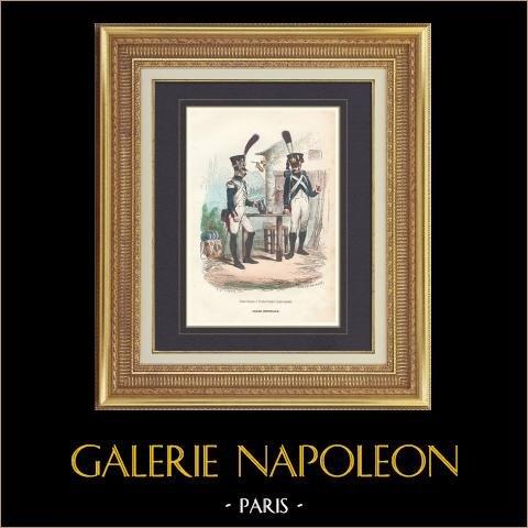 Soldat Napoléonien - Uniforme - Garde Impériale - Fusilier-Grenadier - Tirailleur-Grenadier   Gravure originale en taille-douce sur acier dessinée par Demoraine, gravée par Lacoste ainé. Aquarellée à la main. 1844