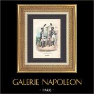 Soldat Napoléonien - Uniforme - Garde Impériale - Fusilier-Grenadier - Tirailleur-Grenadier | Gravure originale en taille-douce sur acier dessinée par Demoraine, gravée par Lacoste ainé. Aquarellée à la main. 1844