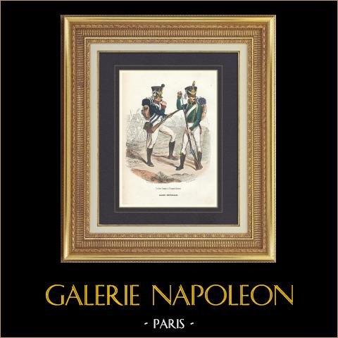 Soldat Napoléonien - Uniforme - Garde Impériale - Tirailleur-Chasseur - Flanqueur-Chasseur   Gravure originale en taille-douce sur acier dessinée par Demoraine, gravée par Lacoste ainé. Aquarellée à la main. 1844