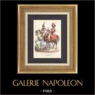 Napoleonischer Soldat - Uniform - Kaiserliche Garde - Trommel auf Pferd - Trompete - Dragon