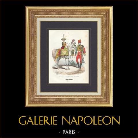Soldat Napoléonien - Uniforme - Garde Impériale - Timbalier - Tambour à Cheval - Vieille Garde   Gravure originale en taille-douce sur acier dessinée par Demoraine, gravée par Lacoste ainé. Aquarellée à la main. 1844