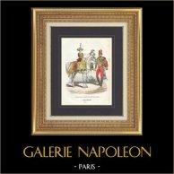 Napoleonisk Soldat - Uniform - Imperial Gardet - Militärmusik - Trumma på Häst - Vieille Garde | Original stålstick efter teckningar av Demoraine, graverade av Lacoste ainé. Akvarell handkolorerad. 1844
