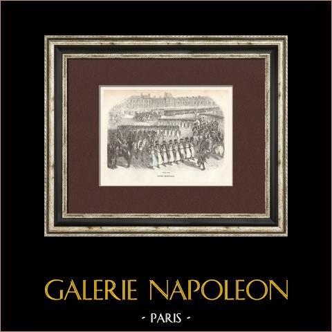 Soldat Napoléonien - Uniforme - Garde Impériale - Revue militaire   Gravure originale en taille-douce sur acier gravée par Lacoste ainé. 1844