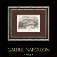 Soldat Napoléonien - Uniforme - Garde Impériale - Revue militaire | Gravure originale en taille-douce sur acier gravée par Lacoste ainé. 1844