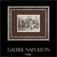 Napoleão Bonaparte e o Guarda Imperial em Ilha de Elba | Gravura original em talho-doce sobre aço desenhada por Hippolyte Bellangé, gravada por Rose. 1844