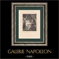 Napoléon - Mort de Napoléon Bonaparte - Ile de Sainte-Hélène (5 mai 1821)  | Gravure originale en taille-douce sur acier dessinée par Desenne, gravée par Levasseur. 1827