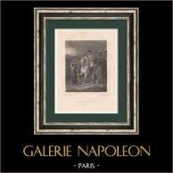 Napoleão - Campanha da França - 6.a coalição - Exílio em Ilha de Elba (1814) | Gravura original em talho-doce sobre aço desenhada por Grenier, gravada por Frilley. 1827