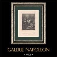 Napoléon Bonaparte - Guerres Napoléoniennes - La Bataille de Wagram (1809) | Gravure originale en taille-douce sur acier dessinée par Langlois, gravée par Lefevre jeune. 1827
