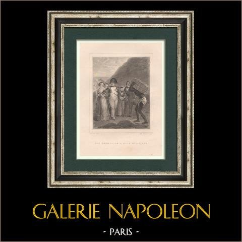 Napoléon - Promenade à Sainte-Hélène | Gravure originale en taille-douce sur acier dessinée par Devéria, gravée par Johannot. 1827