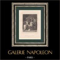 Napoléon et le Fermier | Gravure originale en taille-douce sur acier dessinée par Devéria, gravée par Provost. 1827