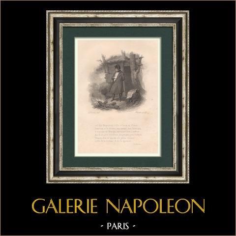 Napoléon devant un feu de camp à l'île de Sainte-Hélène | Gravure originale en taille-douce sur acier dessinée par Devéria, gravée par Forster. 1827