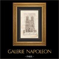Cathédrale de Reims - Portail - Statues Décorant la Porte Centrale (Marne - France) | Gravure originale en taille-douce sur cuivre. Anonyme. 1765