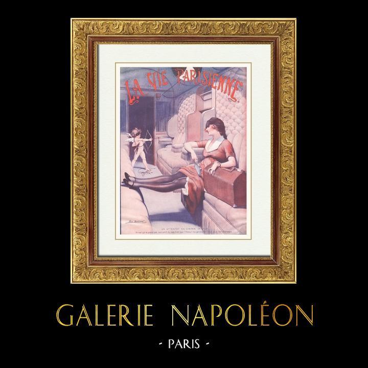 Gravures Anciennes & Dessins | La Vie Parisienne - Années Folles - Art Déco - Erotisme - Un Attentat en Chemin de Fer | Illustration | 1925