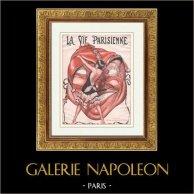 La Vie Parisienne - Glada 1920-talet - Art Déco - Erotik - Karneval - Une Petite Dame qui Lève le Masque | Illustration som publiceras i den erotiska tidskriften La Vie Parisienne. Anonymt. c1925
