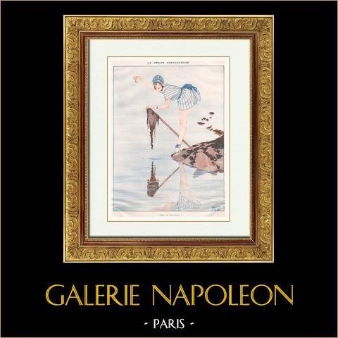 La Vie Parisienne - The Parisian Life - Golden Twenties - Art Deco - Eroticism - Fishing - La Pêche Miraculeuse | Illustration published in the erotic magazine La Vie Parisienne drawn by Armand Vallée. c1925