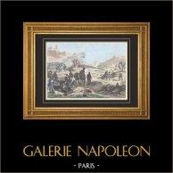 Napoleon Bonaparte - Slagfält - Begravnings heder - Flagga - flaggor | Original stålstick efter teckningar av Martinet, graverade av Reville. Akvarell handkolorerad. 1835