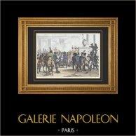 Napoléon Bonaparte - Attentat de Schoenbrunn (1809) | Gravure originale en taille-douce sur acier dessinée par Martinet, gravée par Reville. Aquarellée à la main. 1835