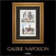 Napoleonisk Soldat - Uniform - Imperial Gardet - Militärmusik - Trumma på Häst - Lansiär - Lancier | Original stålstick. Anonymt. Akvarell handkolorerad. 1835