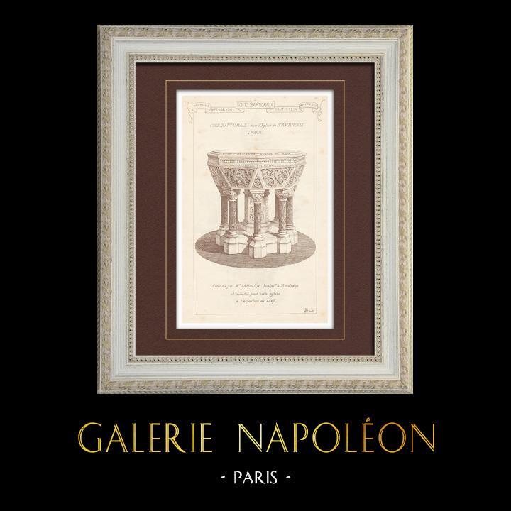 Antique Prints & Drawings | Baptismal Font - Saint Ambroise Church in Paris (Jabouin) | Engraving | 1873