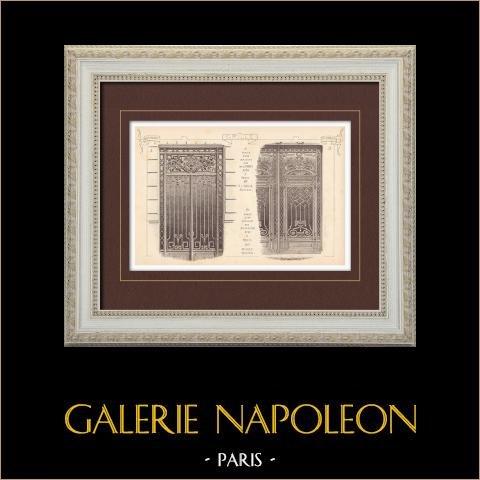 Portal de hierro labrado - Casa - 58 Rue de Londres  (L'Huile) - 18 Rue Boissière (Rives) - Paris | Grabado monocromo. Anónimo. 1899