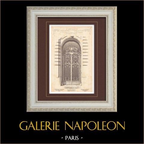 Portal de hierro labrado - Casa - 92 Avenue des Champs-Elysées en Paris (Friese) | Grabado monocromo. Anónimo. 1899