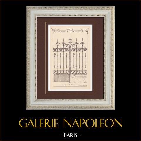 Portal de hierro labrado - Casa - 32 Rue de Monceau en Paris (Baudrit) | Grabado monocromo. Anónimo. 1872