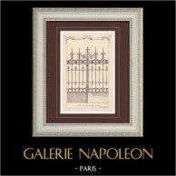 Wrought Iron Gate - House - 32 Rue de Monceau in Paris (Baudrit) | Monochrome print. Anonymous. 1872