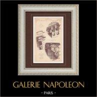 Mensola - Case - Boulevard Raspail - Rue Edouard Detaille - Rue Pierre Charron - Parigi (Marchand) | Stampa monocroma. Anonima. 1894