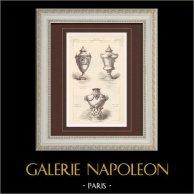 Vases - Sèvres porcelain - Style Louis XVI - Style Louis XIV (J. Berain) - Style Louis XV (François Boucher) | Monochrome print. Anonymous. 1896