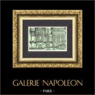 Vue de Paris - Le Nouvel Opéra de Paris - Palais Garnier - Foyer et Grand Escalier | Gravure sur bois originale dessinée par Karl Fichot. 1875