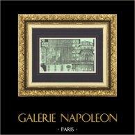 View of Paris - Paris Opéra - Opéra Garnier - Palais Garnier - Theater's longitudinal section  | Original wood engraving drawn by Karl Fichot. 1875