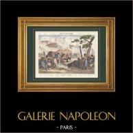 Napoleon Bonaparte - Biwak von Kaiser | Original stahlstich gezeichnet von Martinet, gestochen von Reville. Handaquarelliert. 1835